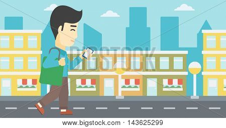 An asian young man walking with smartphone and handbag. Man using smartphone in the city street. Smartphone addiction. Vector flat design illustration. Horizontal layout