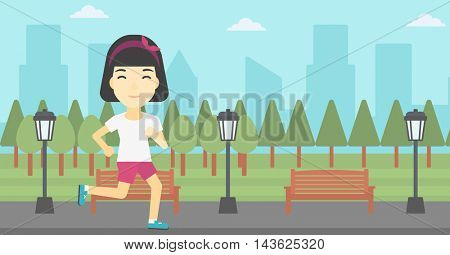 An asian young woman running. Female sportive runner jogging outdoors. Sports woman running in the park. Running woman on forest road. Vector flat design illustration. Horizontal layout