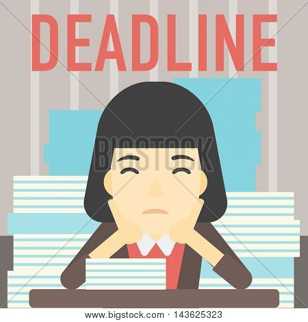 An asian stressed business woman sitting at the table with stacks of papers. Business woman having problem with deadline. Deadline concept. Vector flat design illustration. Square layout.