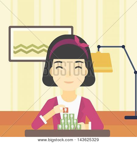 An asian woman making pyramid of network avatars on the background of living room. Woman building social network. Networking and communication concept. Vector flat design illustration. Square layout.