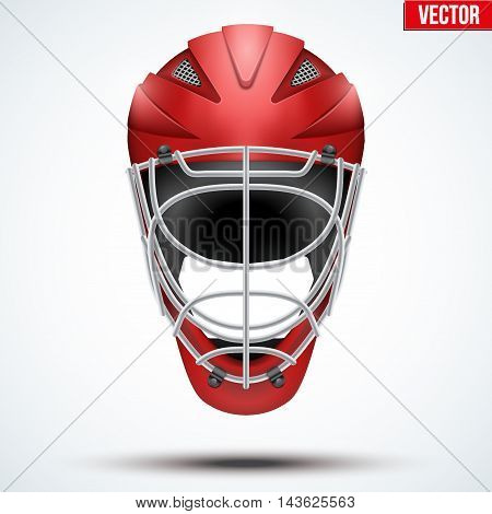 Classic red Goalkeeper Ice and Field Hockey Helmet isolated on Background. Sport Equipment. Editable Vector illustration isolated on white background.