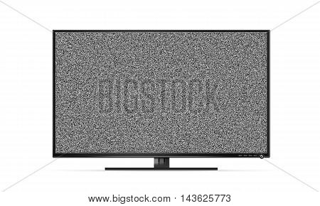 Black TV flat screen stand with white noise mock up isolated 3d illustration. Black HD error led monitor mockup. Flatscreen television retro broadcasting interference background. Abstract display monochrome texture.