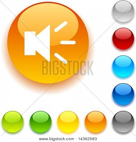 Sound  shiny button. Vector illustration.
