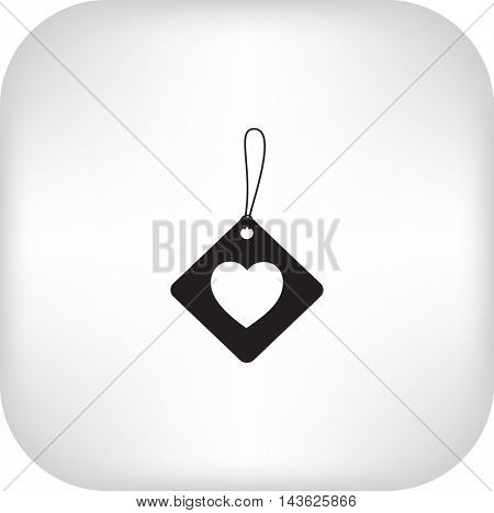Flat icon. Label with heart.
