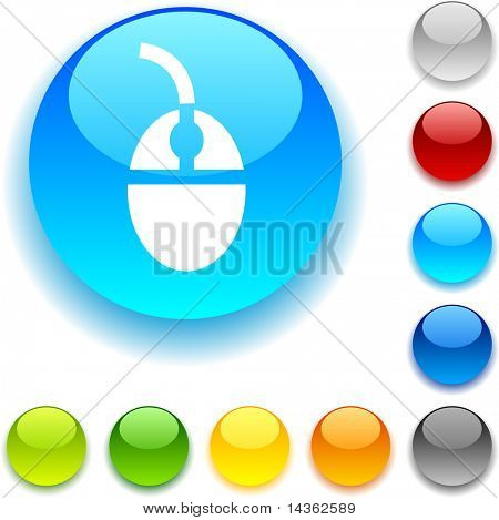 Mouse shiny button. Vector illustration.