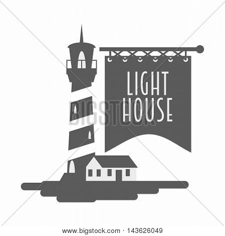 Lighthouse Logo, Sign Or Symbol Template Design. Black And White Monochrome Vector Illustration.