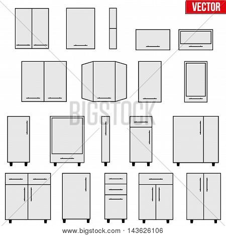 Set of typical objects for modular kitchens. Flat style elements for design interior configuration. Vector Illustration isolated on white background