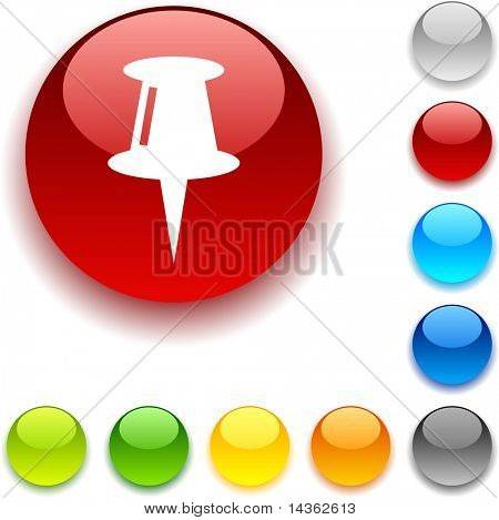 Drawing-pin shiny button. Vector illustration.