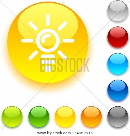 Bulb  shiny button. Vector illustration.