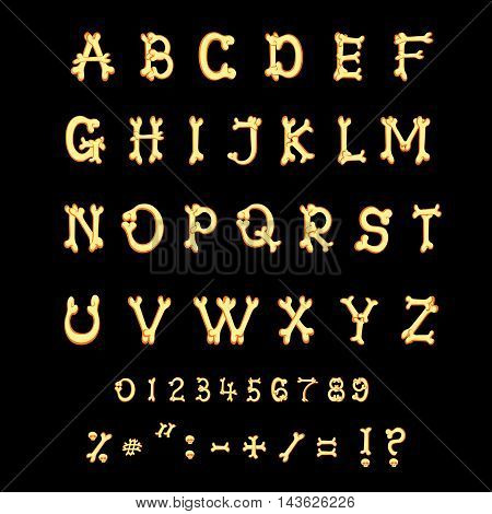 Latin alphabet. Set of letters from bones in halloween funny cartoon style isolated on black background. Vector illustration