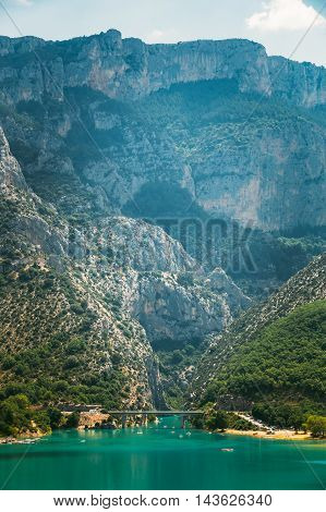 Bridge over the Lake of Sainte-Croix in south-eastern France. Provence-Alpes-Cote d'Azur. Verdon Gorge