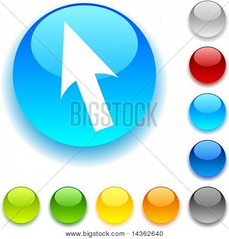 Cursor  shiny button. Vector illustration.