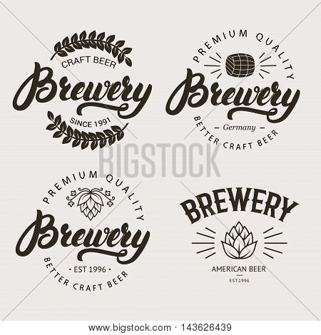 Set of vintage brewery badge, label, logo template designs with wooden barrels and hop for beer house, bar, pub, brewing company. Hand written lettering logo. Vector illustration.