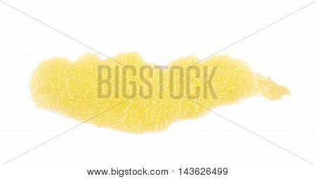 Single slice of lemon zest isolated over the white background