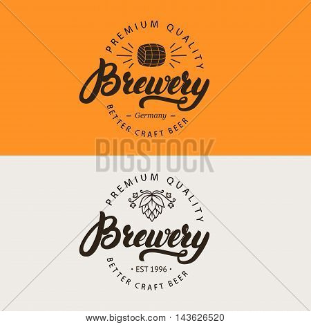 Brewery hand written lettering logo, label, emblem for beer house, bar, pub, brewing company, brewery, tavern. Vector illustration.