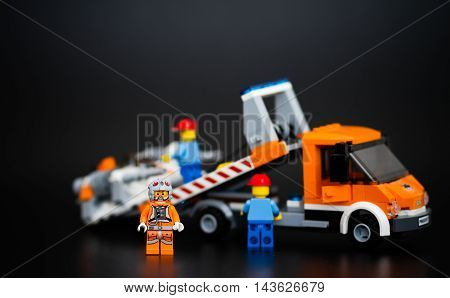 Orvieto Italy - January 12th 2015: Star Wars Lego minifigure pilot is rescued by tow truck