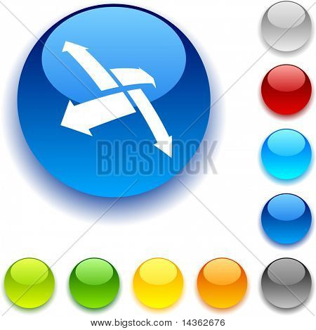 Outside  shiny button. Vector illustration.