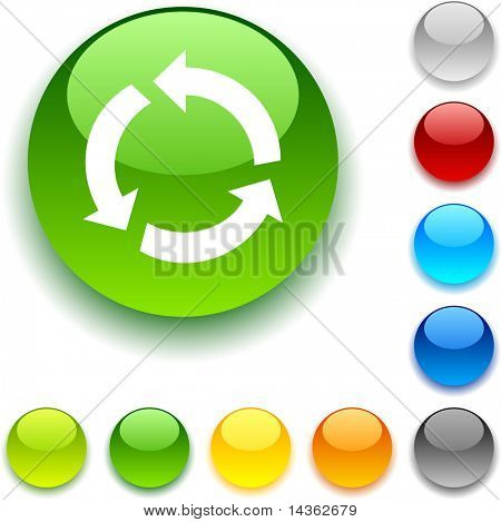 Recycle shiny button. Vector illustration.