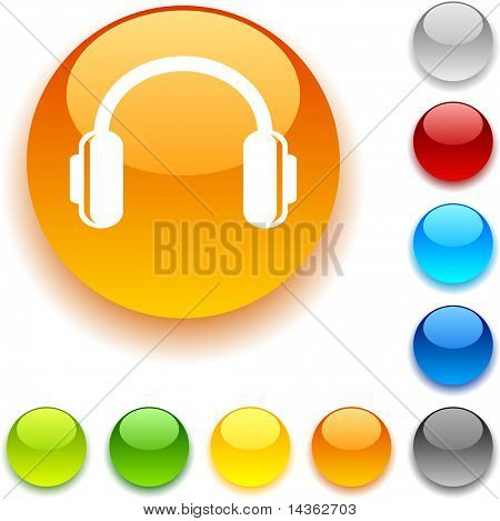 headphones shiny button. Vector illustration.