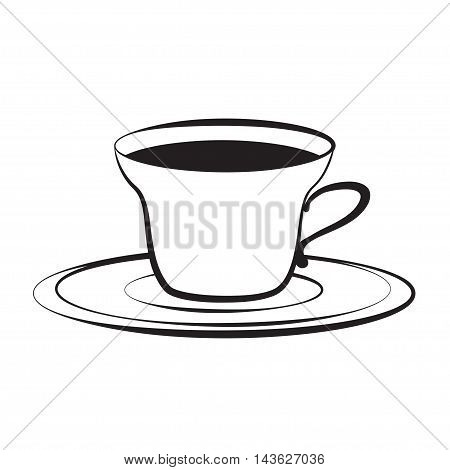 cup on plate, vector illustration, isolated on white