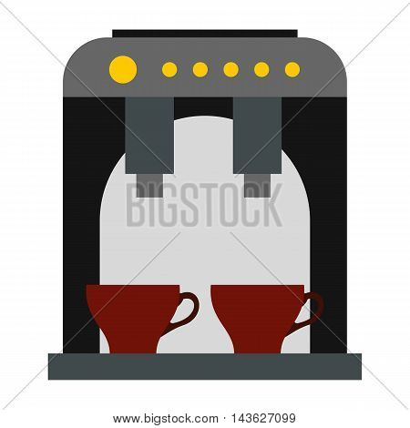 Coffee machine icon in flat style on a white background