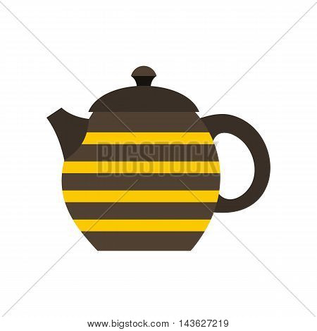 Striped teapot icon in flat style on a white background