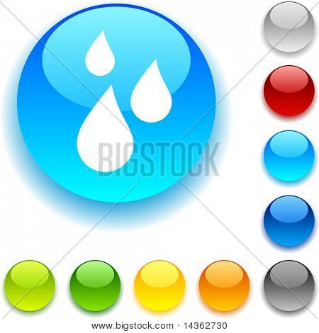 Rain shiny button. Vector illustration.