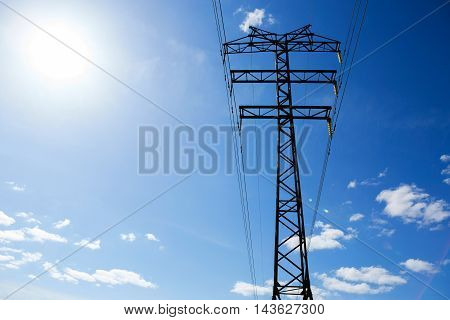 electric pole cable on the blue sky background