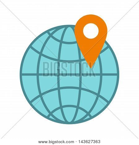 Globe and map point icon in flat style on a white background