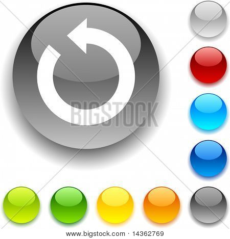 Refresh shiny button. Vector illustration.