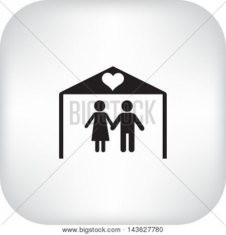 Flat icon family. The husband and wife under the roof of his house.