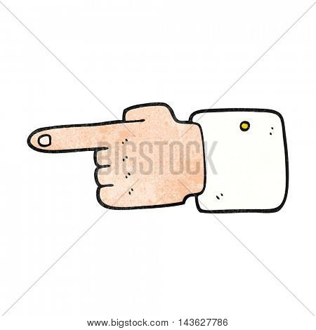 freehand textured cartoon pointing hand