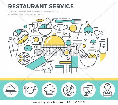 Restaurant service concept illustration, thin line flat design