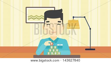 An asian man making pyramid of network avatars on the background of living room. Man building social network. Networking and communication concept. Vector flat design illustration. Horizontal layout.
