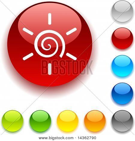 Sun shiny button. Vector illustration.