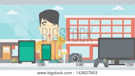 Astonished man looking at digital tablet and smartphone through shop window. An asian young man with open mouth looking at tablet and phone. Vector flat design illustration. Horizontal layout.