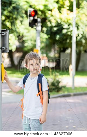 Schoolboy With Backpack Pressing A Button On Traffic