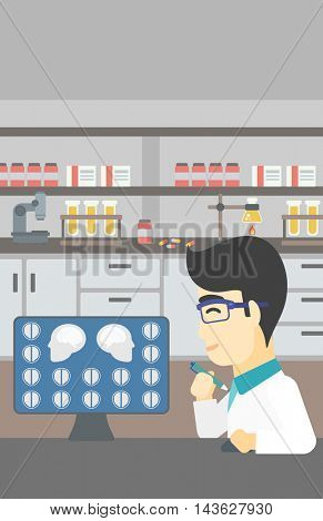 An asian doctor looking at magnetic resonance images of the brain on a computer screen. Doctor analyzing MRI scan at the medical office. Vector flat design illustration. Vertical layout.
