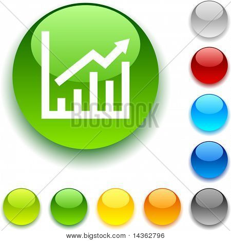growth shiny button. Vector illustration.