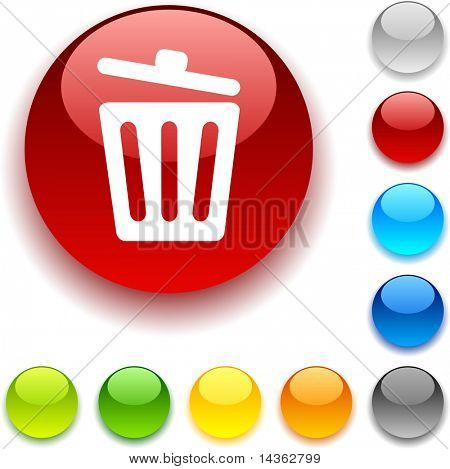 Recycle bin shiny button. Vector illustration.
