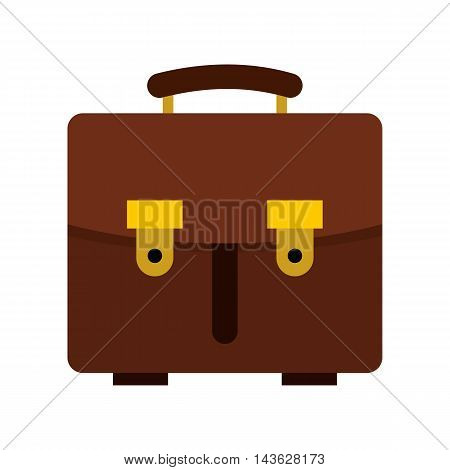 Brown leather briefcase icon in flat style on a white background