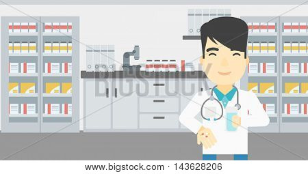 Asian young pharmacist in medical gown holding in hands a glass of water and pills. Pharmacist standing in the laboratory. Pharmacist giving pills. Vector flat design illustration. Horizontal layout.