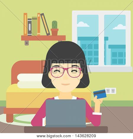 An asian woman holding a credit card and using laptop for online shopping. Woman shopping online at home. Woman making online payment. Vector flat design illustration. Square layout.