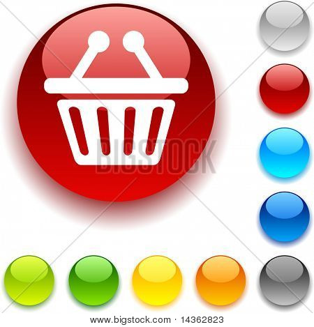 Shopping shiny button. Vector illustration.
