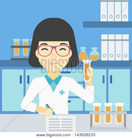 An asian female laboratory assistant taking some notes. Laboratory assistant working with a test tube at the lab. Vector flat design illustration. Square layout.