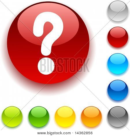Question shiny button. Vector illustration.
