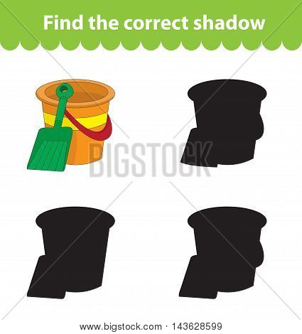Children's educational game find correct shadow silhouette. Toy bucket and shovel set the game to find the right shade. Vector illustration