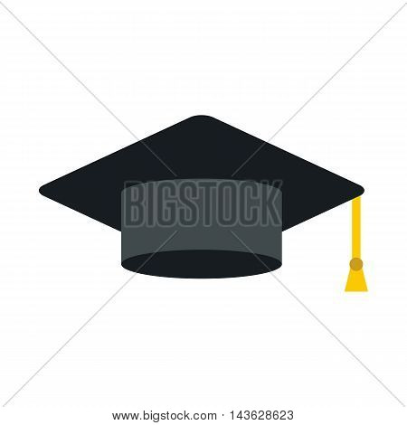 Black graduation cap icon in flat style on a white background