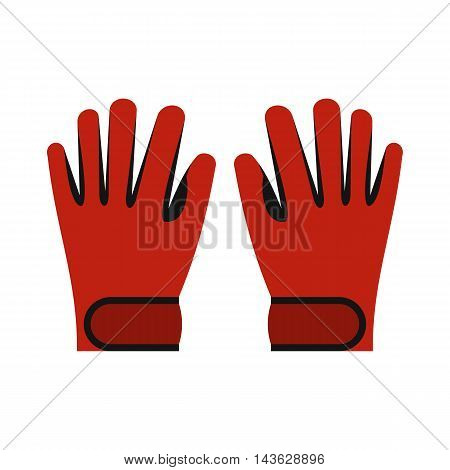 Red winter ski gloves icon in flat style on a white background
