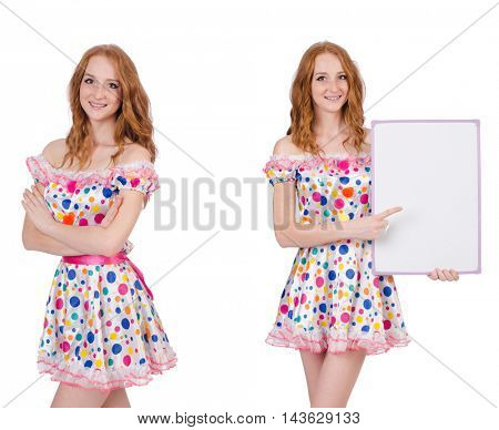 Young woman with blank poster isolated on white